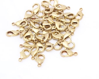 100 Pcs 15mm Raw Brass Lobster Claw Clasp - Raw Brass Findings - High Quality Raw Brass Claw Clasp , CLO4