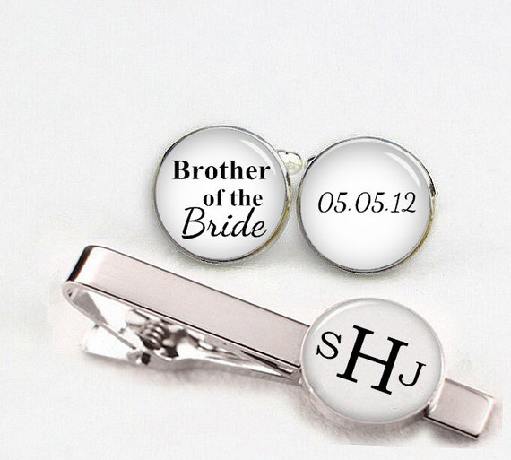 custom wedding cuff links, brother of the bride cuff links, custom round or square cufflinks & tie clips, custom name date photo initial etc