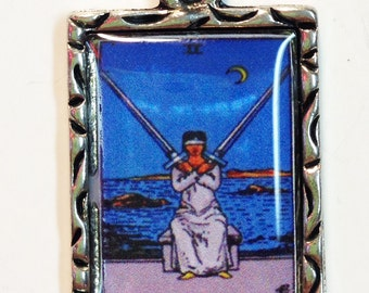 Two Of Swords Tarot Card Charm Necklace