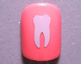 Tooth vinyl nail decal stickers (choose 25 or 50 nail decals)
