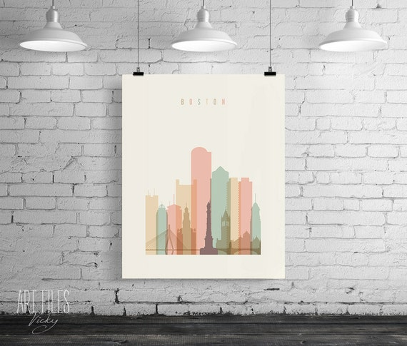 Boston Print, Printable Poster Wall Art, Travel city Poster, wall decor, typography art print, Boston digital poster print, INSTANT DOWNLOAD