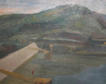 Vintage expressionist art oil painting landscape