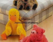 Toy Knitting Pattern for 3 Cute Animals - Dog, Pig and Duck in DK/ 8ply yarn, Baby Toy Knitting Pattern, Instant Download PDF - 431