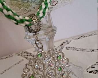 Green and White Kumihimo Braided Necklace With Crystal Tree
