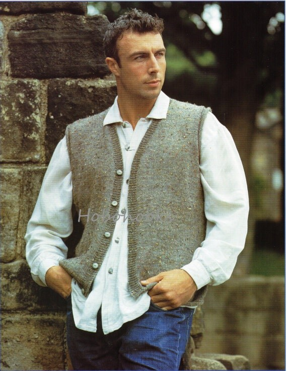 Knitting Pattern Waistcoat : Mens Knitting Pattern mens waistcoat mens sleeveless cardigan