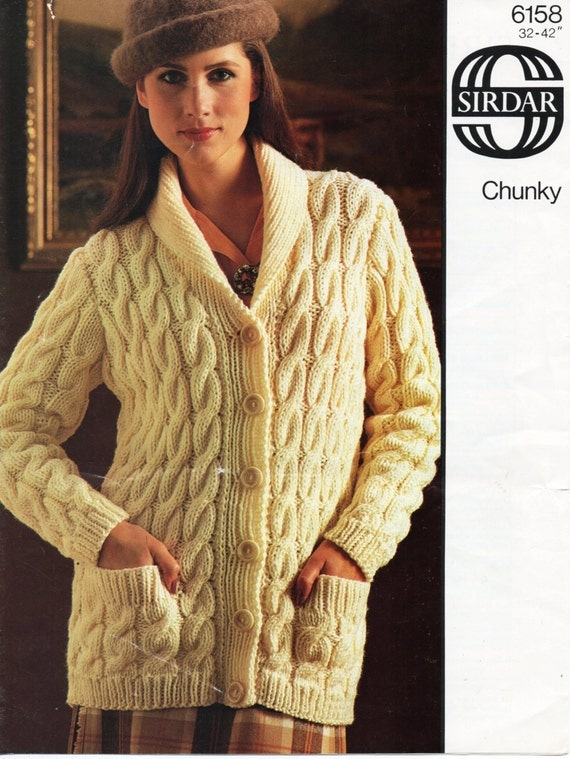 Knitting Pattern For Chunky Ladies Cardigan : Vintage womens chunky cable cardigan knitting pattern pdf