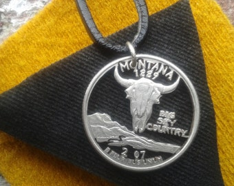 cut coin montana necklace,renovatiodesign,handmade,jewelry,on sale,vintage,summer celebrations,gift ideas,montana state,big state country,G3