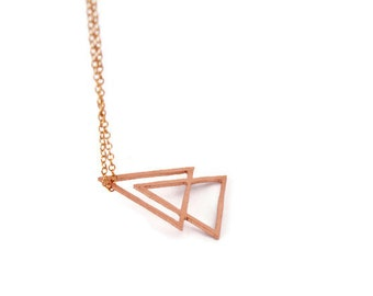 Double triangle // geometric minimalist necklace hand made with a long tiny copper chain