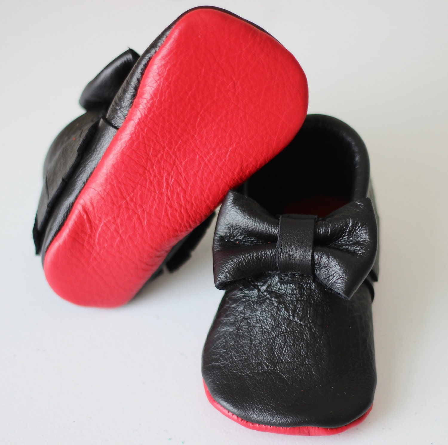 Red Bottom Louboutin Inspired Leather Baby by LittleBeanFootwear