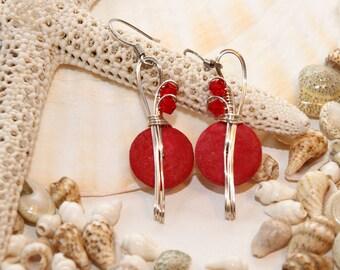 Red Dangle Earrings, Funky Jewelry, Red Earrings, Crystal Jewelry, Bead and Wire Earrings, Wirewrapped Earrings