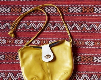 Yellow leather bag S