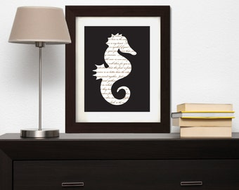 Seahorse Wall Art - Seahorse Wall Decor - Seahorse Print - Nautical Wall Art - Nautical Wall Decor - Nature Wall Art