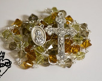 Handmade crystal wire wrapped unbreakable silver rosary