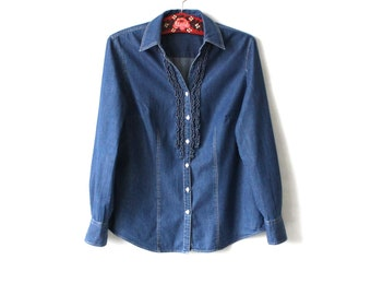 Blue Denim Blouse with Ruffle Jeans Shirt Long Sleeve Large Size