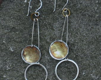 Hammered brass and sterling silver earrings