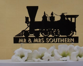 Train Personalized Wedding Cake Topper & Keepsake -Perfect for the Train Lovers Wedding, Steam Locomotive with Names or Phrase