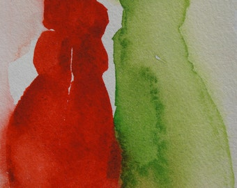 Original watercolour of cats figure 3 .