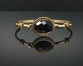 Sophisticated Oval-Shaped Black Onyx Gold Bangle Bracelet, Gold-Tone Bangle Bracelet, Thank You Gift, Birthday Gift, Graduations Gift
