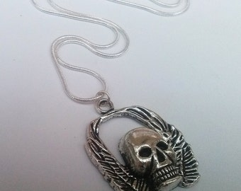 Gothic Skull Necklace , Silver Necklace , Biker Necklace , Punk Necklace , Punk Necklace , Wings , Handmade Jewelry , Gothic Necklace