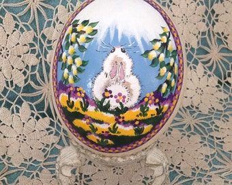 EASTER SALE!!  Original hand painted ostrich egg with spring blossoms and fluffy white bunny