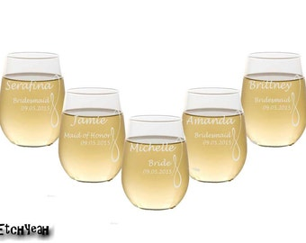 Etched Stemless Wine Glasses / Set of 4 / Personalized Wedding Party Glasses / Bridesmaids : Groomsmen Gifts / 16 Designs