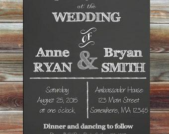 Chalkboard Wedding Invitation - Personalized Wedding Invitation - Chalkboard Wedding Invitation - Black and White Wedding