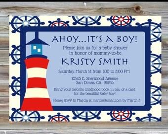 Nautical Theme Baby Boy Shower Invitation - Lighthouse Baby Shower Invite - Nautical Theme Boy Baby Shower - Ahoy It's a Boy
