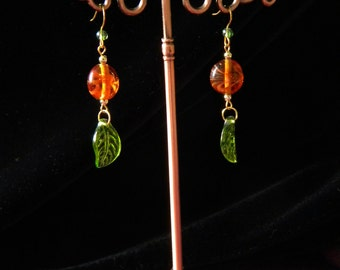 Deep Amber Dreams Dangle Earrings