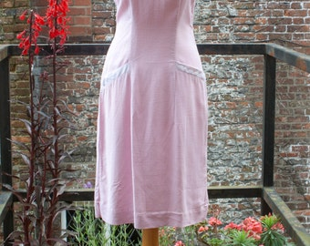 Cute baby pink 60s cotton day dress S