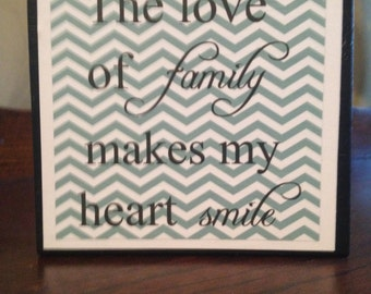 The love of family makes me smile...wood block sign