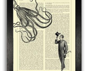 Man Saying Hello to Squid Print, Cool Wall Art Decor, Gift for Boyfriend, Dapper Decor,Squid Art Print, Dictionary Decor, Home Office Decor
