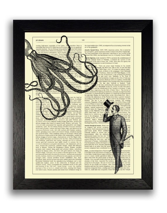 Man Saying Hello to Squid Print Cool Wall Art Decor Gift for