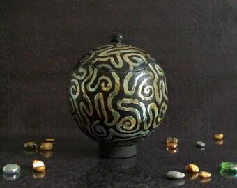 raku pottery ceramic jar with lid, ceramic box, jewelry box, lidded jar, sugar bowl, art deco jar , black and gold jar, trinket box