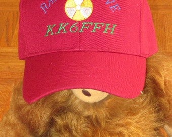 "Custom embroidered hats / caps, ""HAM RADIO HAT""  with radio active and your callsign"