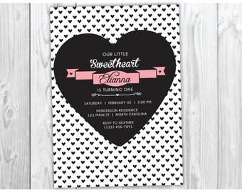 Valentine Birthday Invite Invitation - Sweetheart Invitation - Sweet heart - Free Thank You Card - First Birthday