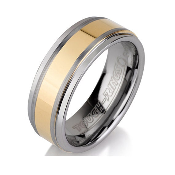 Yellow Gold Tungsten Ring Mens Tungsten Wedding By BravermanOren