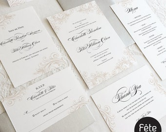 Elegant Traditional Wedding Invitation with Matching Envelope  {CHARLOTTE} Suite