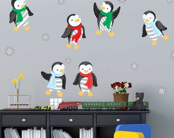Winter Penguin Wall Decal Kit - Holiday Wall Decal Kit by Chromantics
