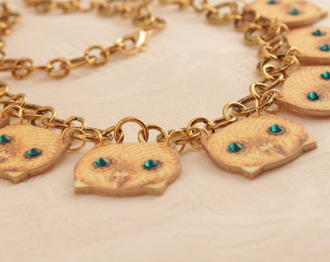 Owl Necklace - Faux Gold - Owl Jewelry - Steampunk - Steam - Punk - Shrink Plastic - Art - Design - fashion - Vintage - Retro