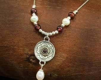 Garnet Pearl Necklace, Bridal, Wedding Jewelry, Two Tone 925 sterling Silver & 14K Gold,Pendant, Pearl Necklace YG020