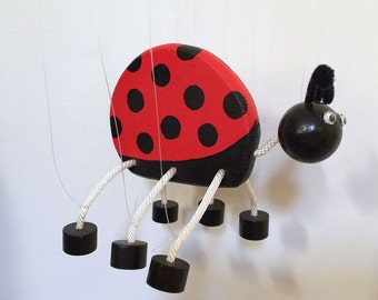 Summertime Ladybug Marionette - Wooden Insect Toy Puppet Pet