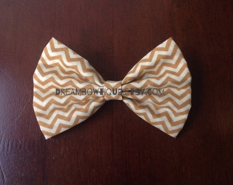 Mustard Yellow Chevron Hair Bow, Mustard Yellow Hair Bow