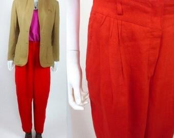 90s In Living Color Escada pleat front linen pants