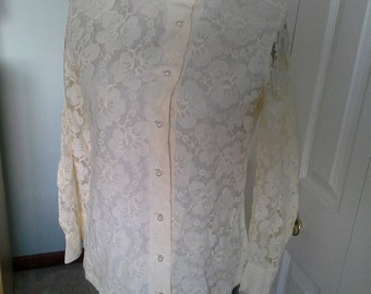 Beautiful and feminine lace blouse by Jubilee of New York
