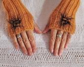 Hand knit fingerless gloves, angora gloves, spring gloves, luxury gloves, knitted mittens, ochre gloves, spring fashion, timeless accessory