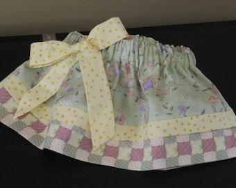 Cotton Boutique Skirt Easter Rabbit BunnyGreen Handmade Baby Infant  6 12 18 24 month Toddler 2T 3T 4T Girls 5 6 7 Elastic Knee Length Twirl