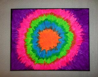 Tie Dye Canvas - Tie Dye Painting - Hippie Painting - Neon Colors - Neon Painting - 8x10 Painting - Tie Dye