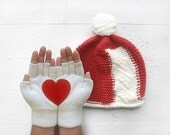 VALENTINE'S Gift, SPECIAL PRICE, Hat Gloves Sets, Heart Gloves, Pompom Hat,White Gloves, Red Hat, Xmas Gift, Holiday, Gifts For Her, Women