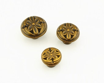 Beautiful Dresser Knobs Drawer Knobs Pulls Handles Antique Brass Flower Rustic  Kitchen Cabinet Knobs Pulls Handles /