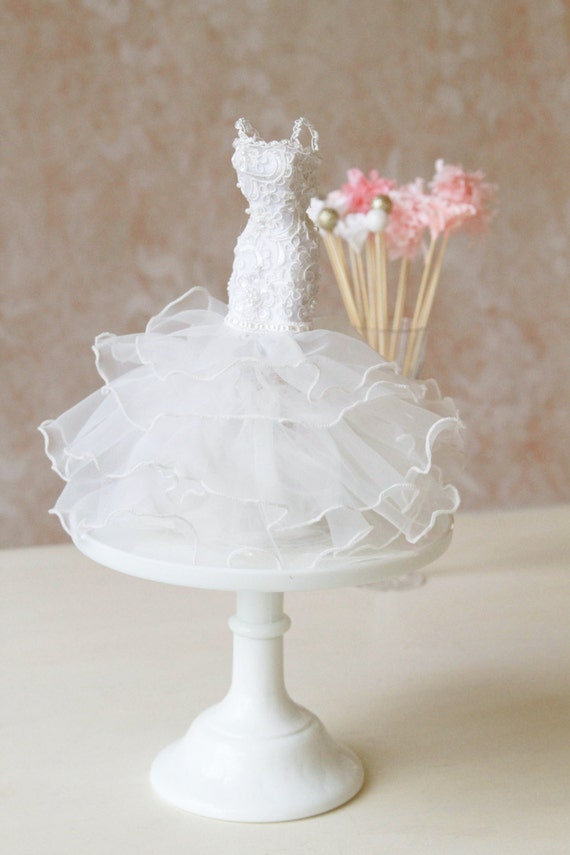 Bridal shower centerpiece mermaid gown couture wedding dress for Wedding dress vase centerpiece